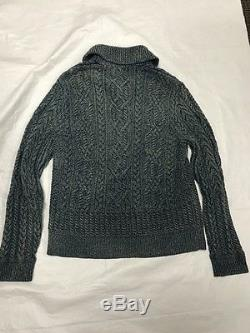 RRL Ralph Lauren Washed Indigo Cable Knit Cotton Guernsey Shawl Cardigan NWT L