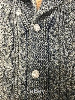 RRL Ralph Lauren Washed Indigo Cable Knit Cotton Guernsey Shawl Cardigan NWT M