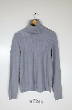Raf Simons AW00-01Grey Wool Cable Knit Turtleneck Sweater