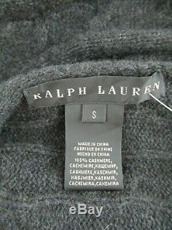 Ralph Lauren 100% Cashmere Cable Knit Circle Cardigan Sweater Size S #ca747