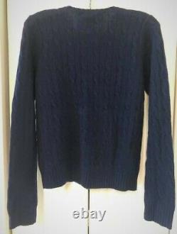Ralph Lauren 100% Cashmere Cable-Knit Sweater, Navy Blue, Size XL New with Tags