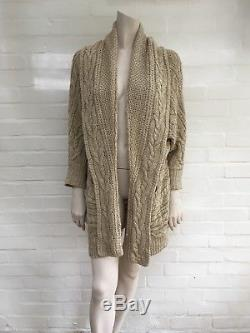 Ralph Lauren Beautiful Cable Knit Linen Mulberry Open Front Cardigan Sweater S