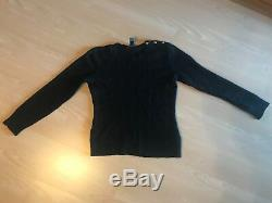 Ralph Lauren Black Cable Knit Sweater + Gap Floral/Roses Black White shirt ASO