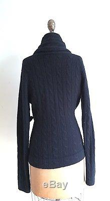 Ralph Lauren Black Label Cashmere Black Cable Knit Cardigan With Velvet Belt M