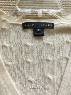 Ralph Lauren Black Label Cashmere Cable Knit Long Cardigan & Shell Cream Ivory S