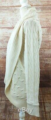 Ralph Lauren Black Label Small Ivory 100% Cashmere Circle Sweater Cable Cocoon