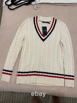 Ralph Lauren Cable Knit Cricket Sweater ASO Kate Middleton Size M