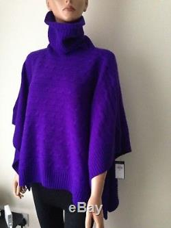 Ralph Lauren Cable Knit poncho cashmere blend 90% merino wool/10%cashmere size S
