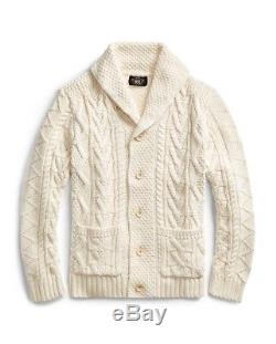 Ralph Lauren Double RL RRL Chunky Cable Knit Cardigan Off White 2XL XXL $867.00