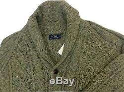 Ralph Lauren Green Wool Cashmere Cable Knit Shawl Collar Cardigan Size 2xl £345