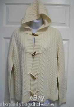 Ralph Lauren Ivory Wool Cableknit Fisherman Hoodie Toggle Cardigan Sweater XL