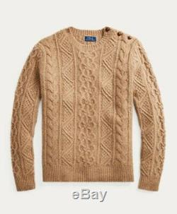 Ralph Lauren Men's Cable-Knit Merino Wool Sweater, Size Small (Camel Donegal)