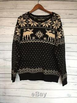 Ralph Lauren Polo Cable Knit Sweater Nordic Snowflake Moose Holiday Black 2XL