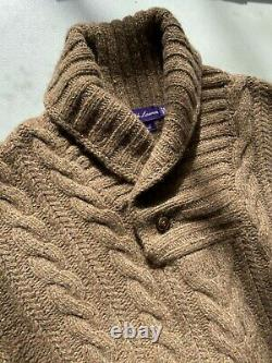 Ralph Lauren Purple Label Heavy Thick Cable Hand Knit Sweater L Wool Cashmere
