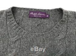 Ralph Lauren Purple Label Mens M Cashmere Sweater Cable Knit Heather Blue EUC