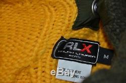 Ralph Lauren RLX Removable Hood 100% Cashmere Heavy Knit Cable Polo Sweater M