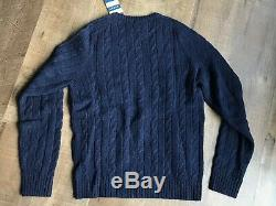 Ralph Lauren Rugby Cable Knit Wool Sweater Small Navy Deadstock