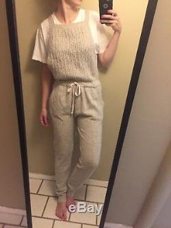 Rare Free People Cuddle Me Dungaree Sweater Overalls Size Small Cable Knit