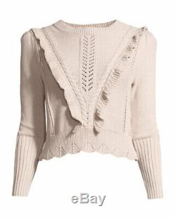 Rebecca Taylor Cable Knit Ruffle Trim Cotton Pullover Sweater Sz Medium CROPPED