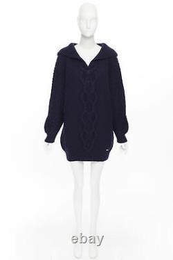 Runway CHANEL 18A navy wool cashmere cable knit sailor collar sweater dress FR42