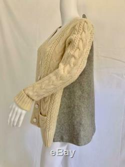 SACAI Ivory Wool Cable Weave Cardigan Jacket Heather Gray Rear NWT $1265 Sz 1 M