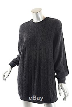 SHIRIN Guild Vintage Grey Cashmere Cable Knit Sweater with Shoulder Pads