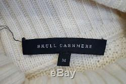 SKULL CASHMERE Cream Wool Cashmere Blend Polo Neck Cable Knit Jumper Sweater M