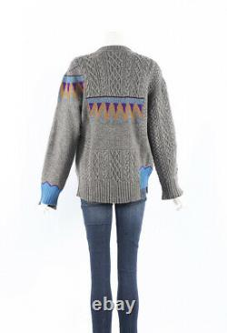 Sacai Sweater Gray Multicolor Wool Cable Knit Crew Neck SZ 2