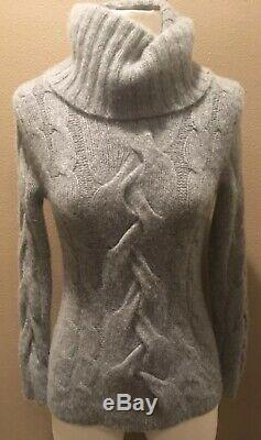 Saks Fifth Ave 100% Cashmere Thick Turtleneck Sweater Xs Gray Cable Knit Pretty