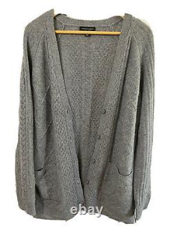 Saks Fifth Avenue Cashmere Fisherman's Style Cable Knit Long Cardigan Sweater XL