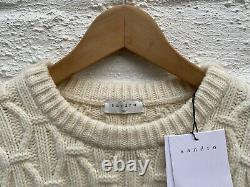 Sandro Mens Twist Cable Knit Wool Blend Jumper White New With Tags M