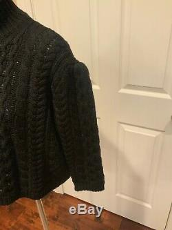Simone Rocha Black Cable Knit Mock Neck Wool Sweater, Size Small, NWT