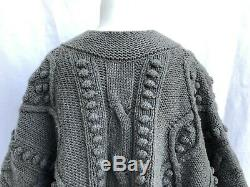 Stella MCCartney Heavy Cable Knit Crop Cardigan Sweater Wool Cashmere Gray Med