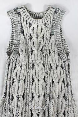 Stella Mccartney Black/white High-low Sweater Dress (thick Cable Knit!) M