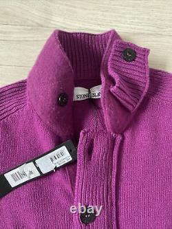 Stone Island Jumper Cable Knit Crew Neck Pullover M Purple Knitted jumper