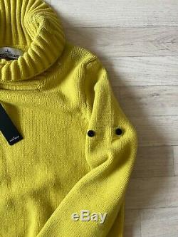 Stone Island Jumper Mens Cable Knitted Winter Stone Island Pullover Yellow LARGE