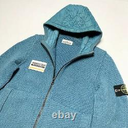 Stone Island Zipped Knitted Cable Mens L Large M Blue Sweater Zip Hoodie Wool