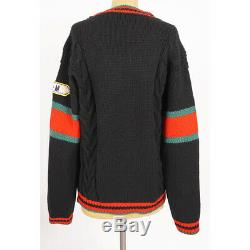 Sz S NEW $1,500 GUCCI Black Wool PREPPY CABLE KNIT Oversize Fall Winter SWEATER