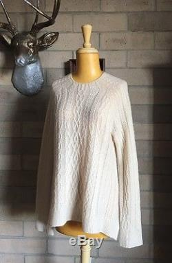 THE ROW $1350'Bea' Cream Cashmere Silk Fine Cable-Knit Swing Sweater S