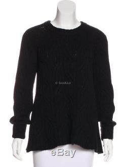 THE ROW cable knit sweater black long sleeve jumper knit thick wool cashmere XS