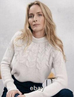 THE WHITE COMPANY Cloud Marl Cable Yoke Jumper with Alpaca, UK 16, RRP £149, VGC