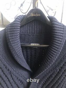 TOM FORD men's shawl collar sweater cardigan thick cable knit black wool sz M