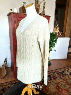TSE Cashmere Sweater Thick Ivory Cable Knit V Neck Womens ML Mens S Pullover