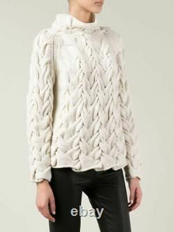 The Row Leander Sweater Pullover Chunky Cable Cashmere Silk Size M $3890