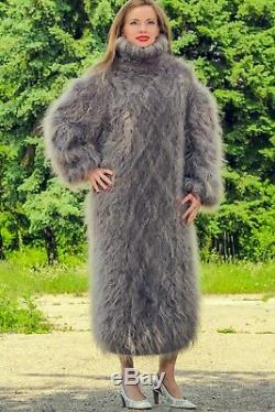 Thick fuzzy grey mohair dress long fuzzy cable sweater hand knit gown SUPERTANYA