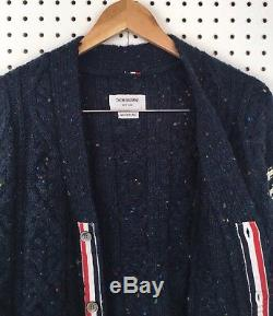 Thom Browne Men's Navy Blue Donegal Cable Knit Wool Mohair Cardigan Sweater 2