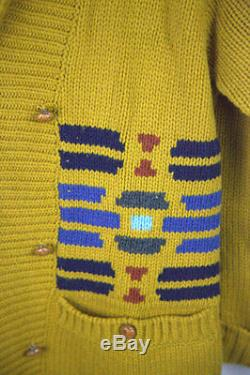 USA HAND KNIT Mens PENDLETON Cardigan Small FESTIVAL Cable Knit Sweater NEW P31