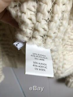 Ulla Johnson Cable Knit Semi Sheer Chunky Cream Ivory Sweater Sz Large AS IS