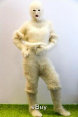 Ultimate catsuit thick ivory bodysuit fuzzy pants sweater mittens balaclava