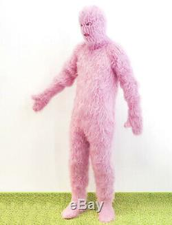 Ultimate pink catsuit pijama thick fluffy bodysuit fuzzy pants handknit overall